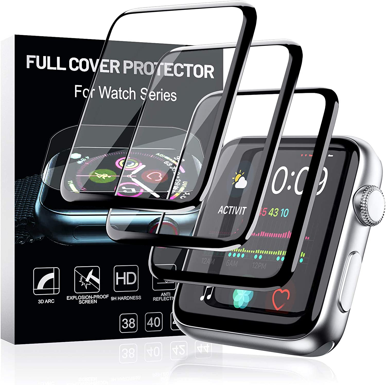 MEIZOY 3 Pack Watch Screen Protector for Apple Watch 40mm Series 6/SE/5/4 Full Coverage Bubble-Free Scratch-resistant Anti-Fingerprint HD Screen Protector for Apple Watch 40mm