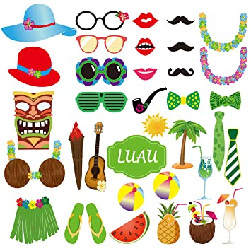 LUOEM Foto Accessoires Requisiten Photo Booth Hawaii Luau Sommer Strand Pool Party Supplies Hochzeit
