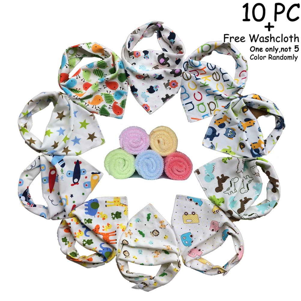 10-pack Baby Girls Bandana Drool Bibs&FREE Baby Washcloth GIFT, Absorbent Cotton Bibs Super-Stylish Anti-Smell Anti-Bacterial Apron Bibs Quick Dry Avoids Drool Rash with Nickel-Free Snaps Theshine