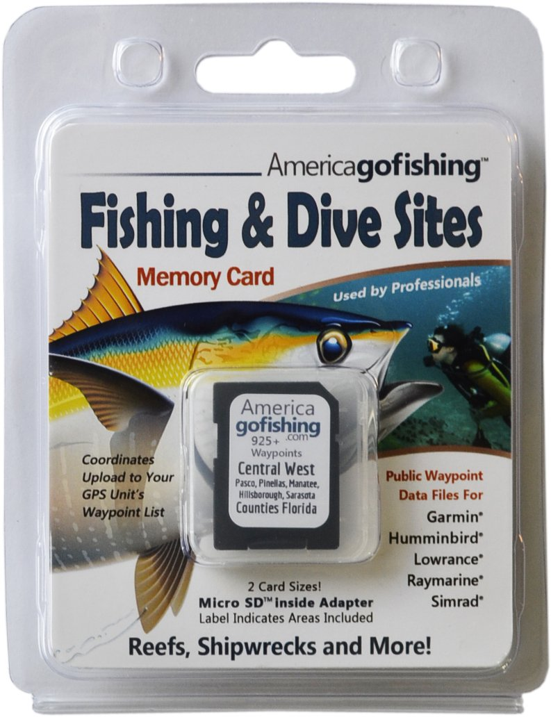 Central West Florida (Sarasota to Pasco County) - Fishing & Dive Sites Memory Card for Garmin® Humminbird® Lowrance® Raymarine® Simrad®