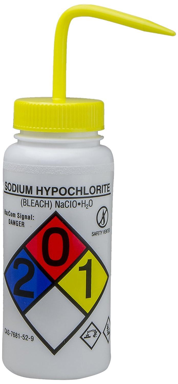 Wash Bottles; 500ml Bleach Pack of 4 16oz Polyethylene w//Yellow Polypropylene Cap Bel-Art GHS Labeled Safety-Vented Sodium Hypochlorite F12416-0015