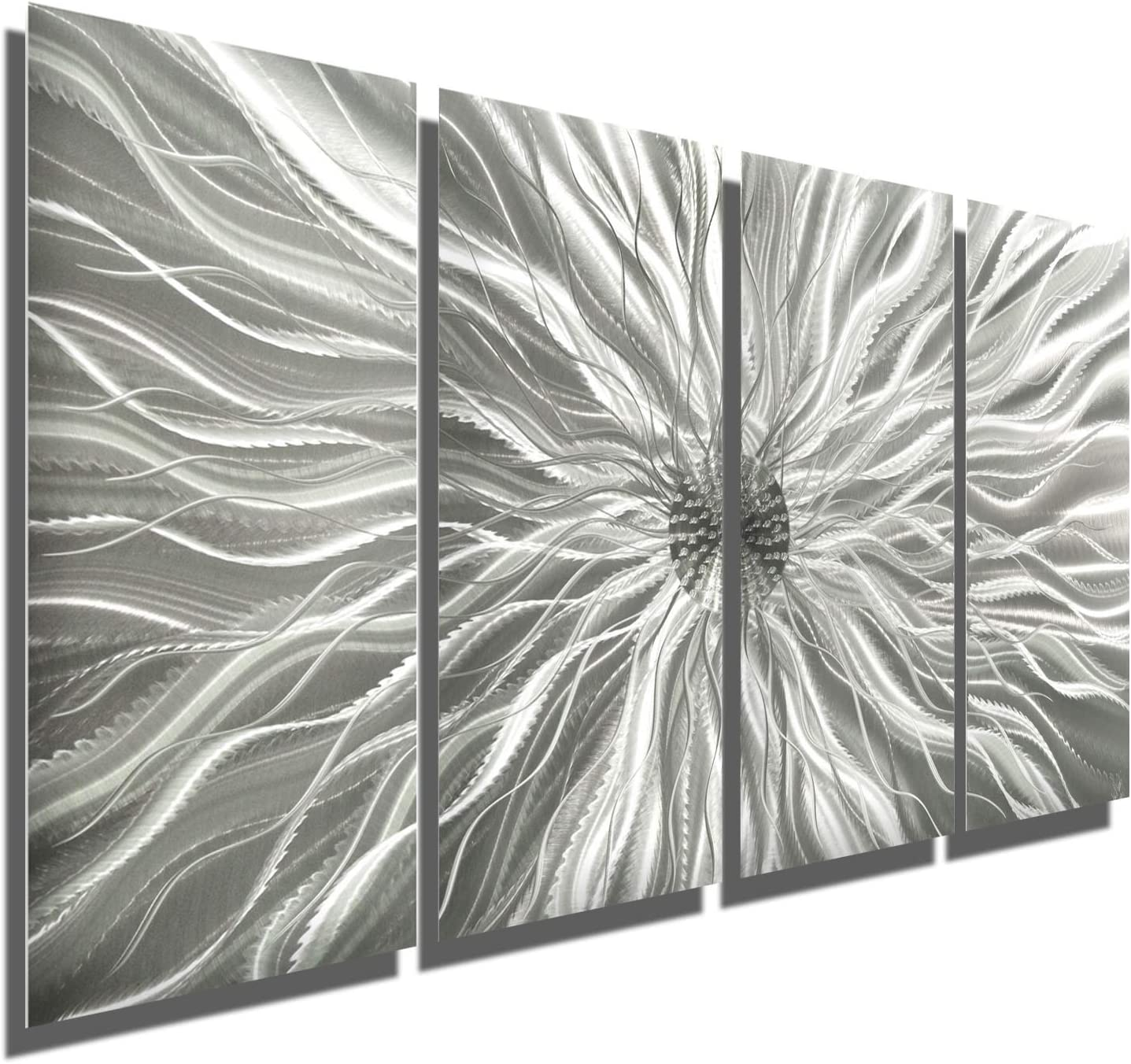 Amazon Com Abstract Silver Metal Wall Art Sculpture Multi Panel Modern Home Décor Static By Jon Allen Home Kitchen