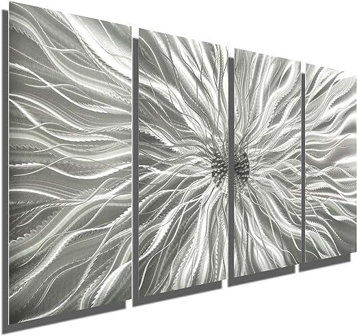 Metal Wall Mirror Art Accent VERY MODERN Abstract Silver Decor SIGNED Jon Allen