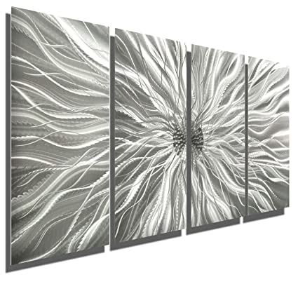 3d11827797a Amazon.com  Abstract Silver Metal Wall Art Sculpture - Multi-Panel Modern  Home Décor Static by Jon Allen  Home   Kitchen