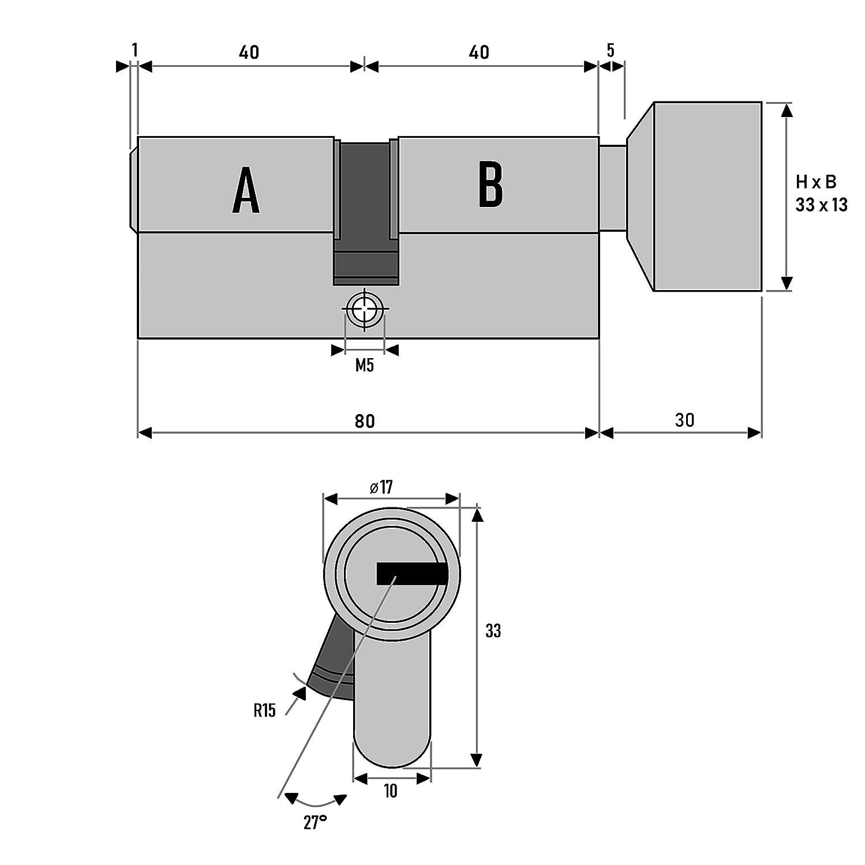 4 St/ück 80 mm mit Knauf gleichschlie/ßende Zylinderschl/össer mit Knauf und jeweils 5 Schl/üssel f/ür jedes Schloss