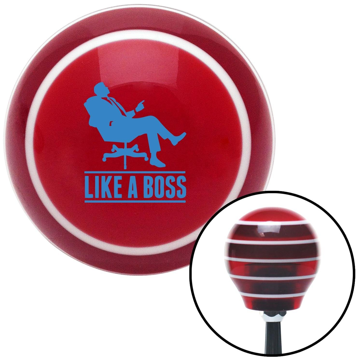 Blue Like A Boss American Shifter 116697 Red Stripe Shift Knob with M16 x 1.5 Insert