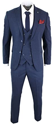 mens 3 piece pin stripe double breasted 1920 s gatsby peaky blinders