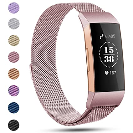 Replacement Compatible Fitbit Charge 3 Bands Metal Milanese Bands Wristband  Accessory Magnetic Breathable Sweat-Proof Sport Bracelet Strap Small &