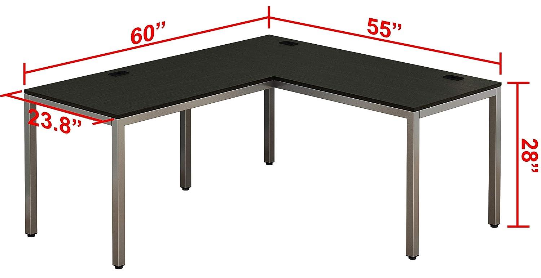 SHW Home Office 55x60 Large L Shaped Corner Desk Black Cherry