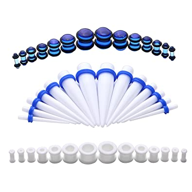 BodyJ4You 42PC Gauges Kit Ear Stretching 8G-12mm Tapers Plugs Silicone Acrylic Body Piercing Set