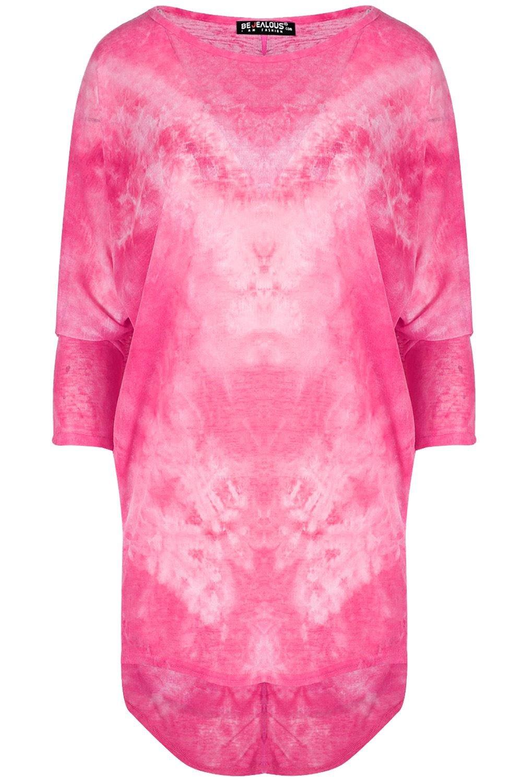 Be Jealous Damen Kurzärmlig überdimensional Batik Fledermausärmel Baggy  Tauch Saum Hi Lo Mini Top UK Übergröße 8-22: Amazon.de: Bekleidung