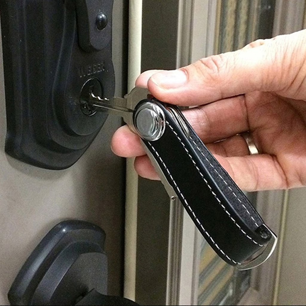 JimTw-UK Porte-cl/és cr/éatif Organiseur Smart Key Wallet EDC Gear Keychain Pocket Ring Red