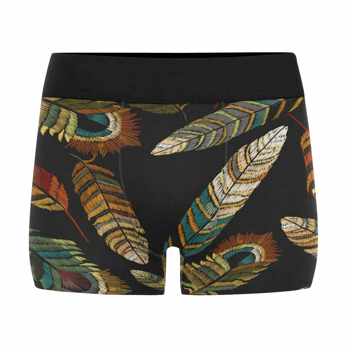 INTERESTPRINT Custom Mens All-Over Print Boxer Briefs Beautiful Bright Tropical Peacock Feathers XS-3XL