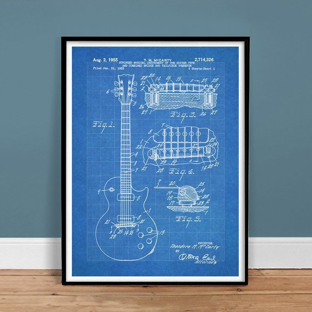 Amazon gibson les paul guitar poster blueprint us patent poster amazon gibson les paul guitar poster blueprint us patent poster print 18x24 vintage reproduction gift 1955 unframed posters prints malvernweather Images