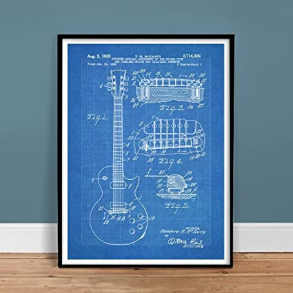 Amazon gibson les paul guitar poster blueprint us patent poster gibson les paul guitar poster blueprint us patent poster print 18x24 vintage reproduction gift 1955 unframed malvernweather Images