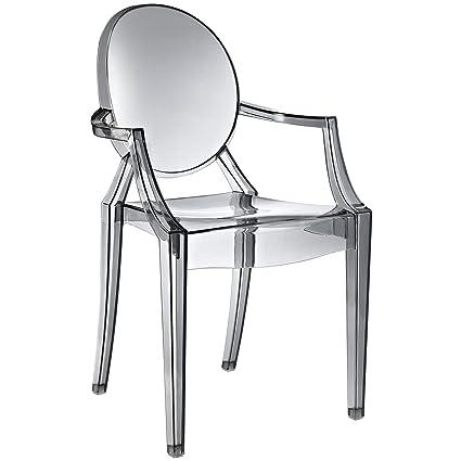 Modway Casper Modern Acrylic Dining Armchair In Smoke, 1 Chair