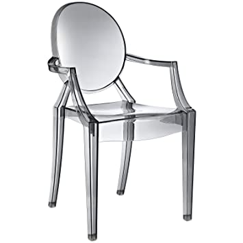 Marvelous Modway Casper Modern Acrylic Dining Armchair In Smoked Clear