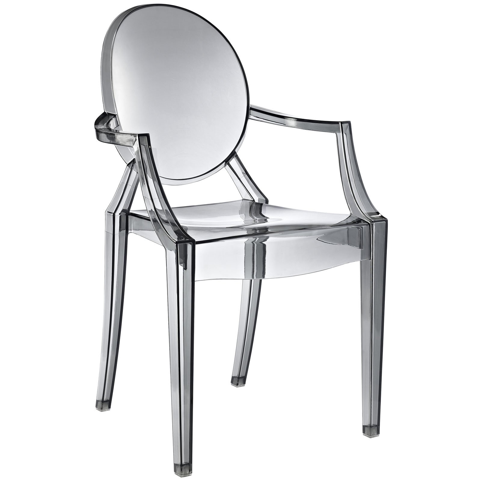 Modway Casper Modern Acrylic Dining Armchair in Smoke, 1 Chair