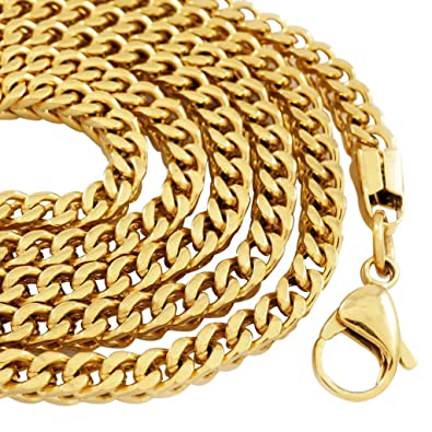 a5f73a875 Amazon.com: NIV'S BLING - 18k Yellow Gold-Plated Stainless Steel 4mm Franco  Chain 20 Inches: Jewelry