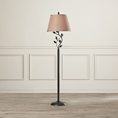 Contemporary Floor Lamp, Leaf Design under Fabric Shade, Oil Rubbed Bronze Metal Base, 3 Way Switch, 150 Watts, Great for Home or Office Decoration