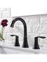 Friho Lead Free Commercial Two Handle Three Hole Oil Rubbed Bronze Bathroom  Vanity Sink