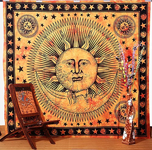 Tie Dyed Sun and Moon Tapestry, Hippie Bed Cover, Decorated Throw, Table Cover, Hippy Wall Hanging.