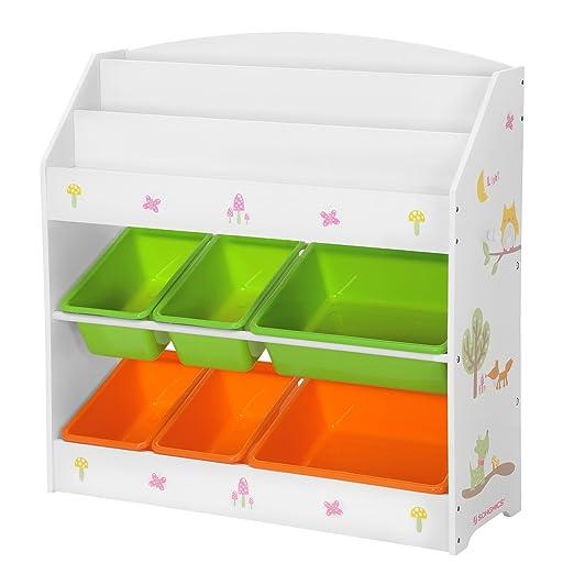 SONGMICS Aufbewahrungsschrank für Kinder, 3-stöckiges Bücherregal und 6 herausnehmbare Behälter für Kinderzimmer, Kindergarte