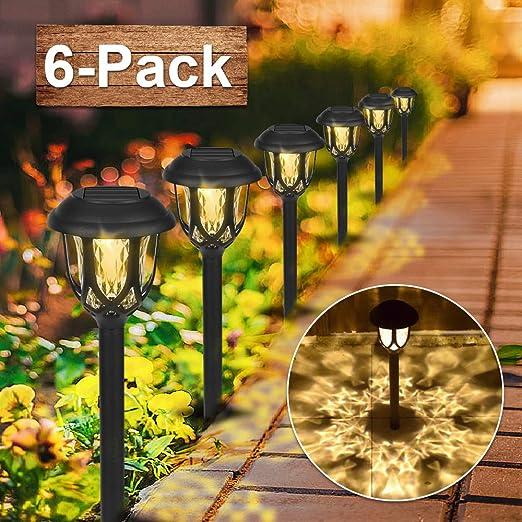 6 Pcs Farol Solar Exterior Jardin, LED Lámpara Solar Jardín Luz ...