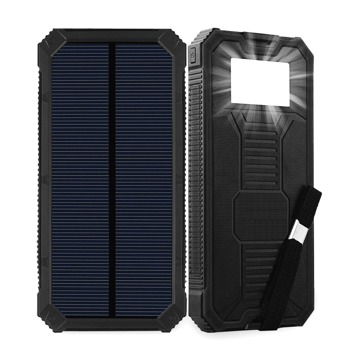 Solar Power Bank 15000mAh Friengood Portable Solar Phone Charger with Dual USB Ports, Solar External Battery Charger with 6 LED Flashlight for Cell Phone, Tablet, Camera and More (Black)