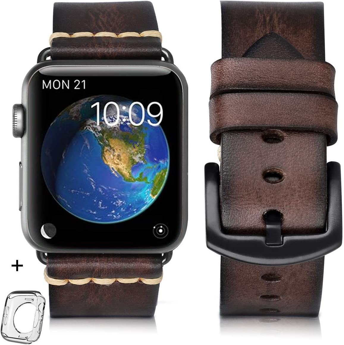 Compatible for Apple Watch Band 38mm 40mm 42mm 44mm Men,Top Grain Leather Band Replacement Strap iWatch Series 6/5/ 4/ 3/ 2/ 1,SE,Sport, Edition. new arrival (coffee/Black buckle, 38mm40mm)