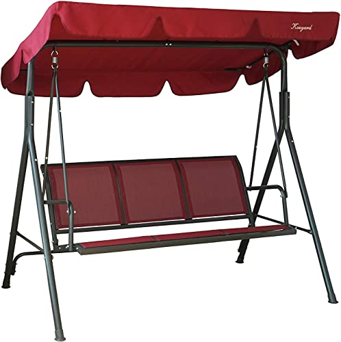 Kozyard Belle 3 Person Outdoor Patio Swing with Strong Weather Resistant Powder Coated Steel Frame and Textilence Seats Red
