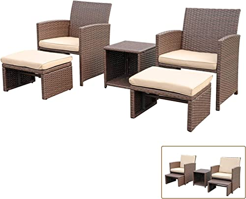 OC Orange-Casual 5 Pcs Patio Conversation Set Balcony Furniture Set