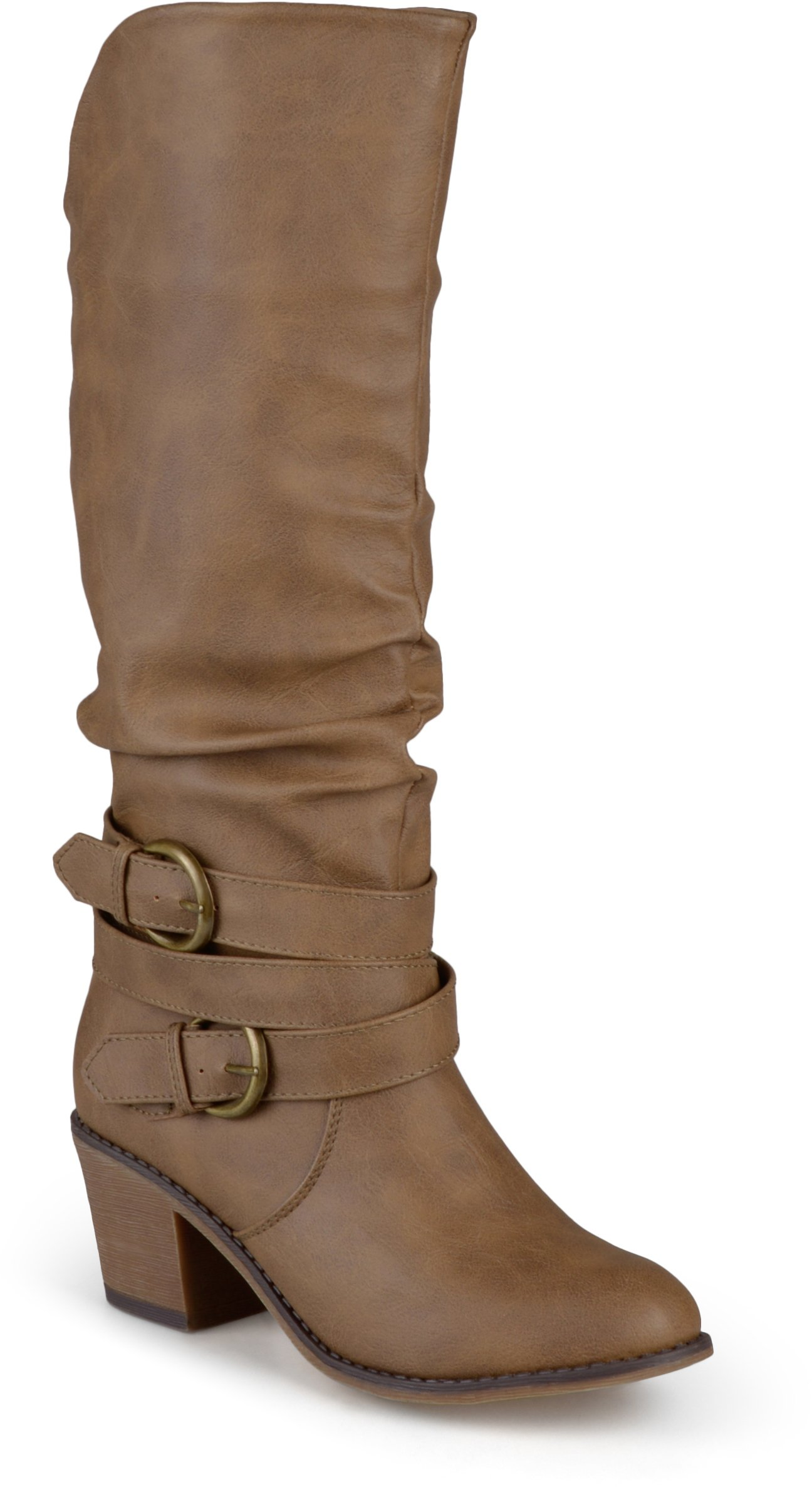 Journee Collection Women's Buckle Slouch High Heel Boots Taupe, 7.5 Regular US