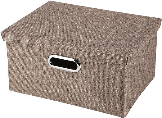 Gris Zerodis Caja de Almacenaje de de Lino Tela Caja de Almacenamiento Plegable con Tapas