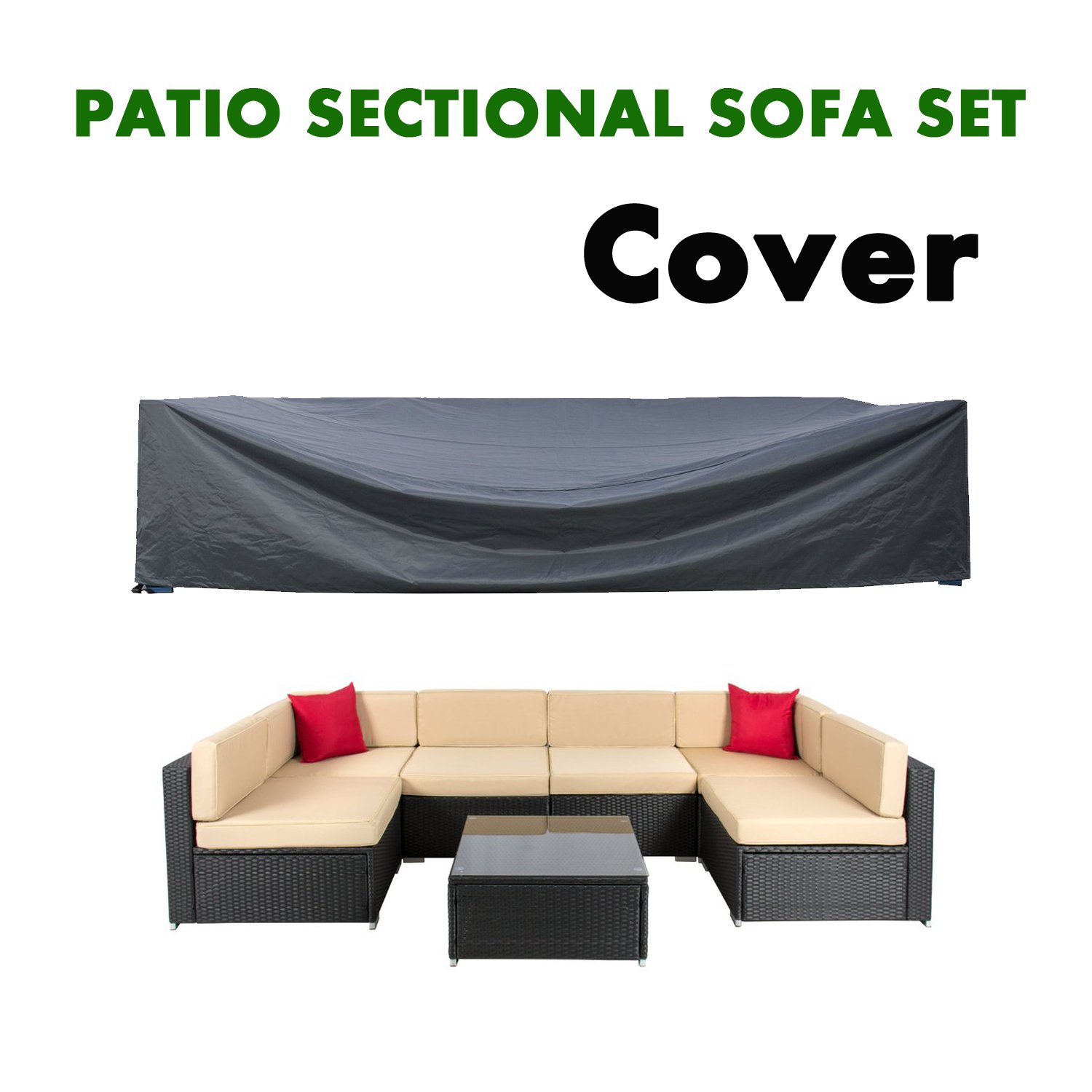 AKEfit Patio Cover,Patio Furniture Set Covers Waterproof Outdoor Furniture Lounge Porch Sofa Waterproof Dust Proof Protective Loveseat Covers