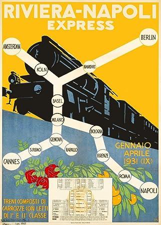 Vintage de viaje Italia en la riviera Napoli Express para AMSTERDAM, colonia, BERLIN,