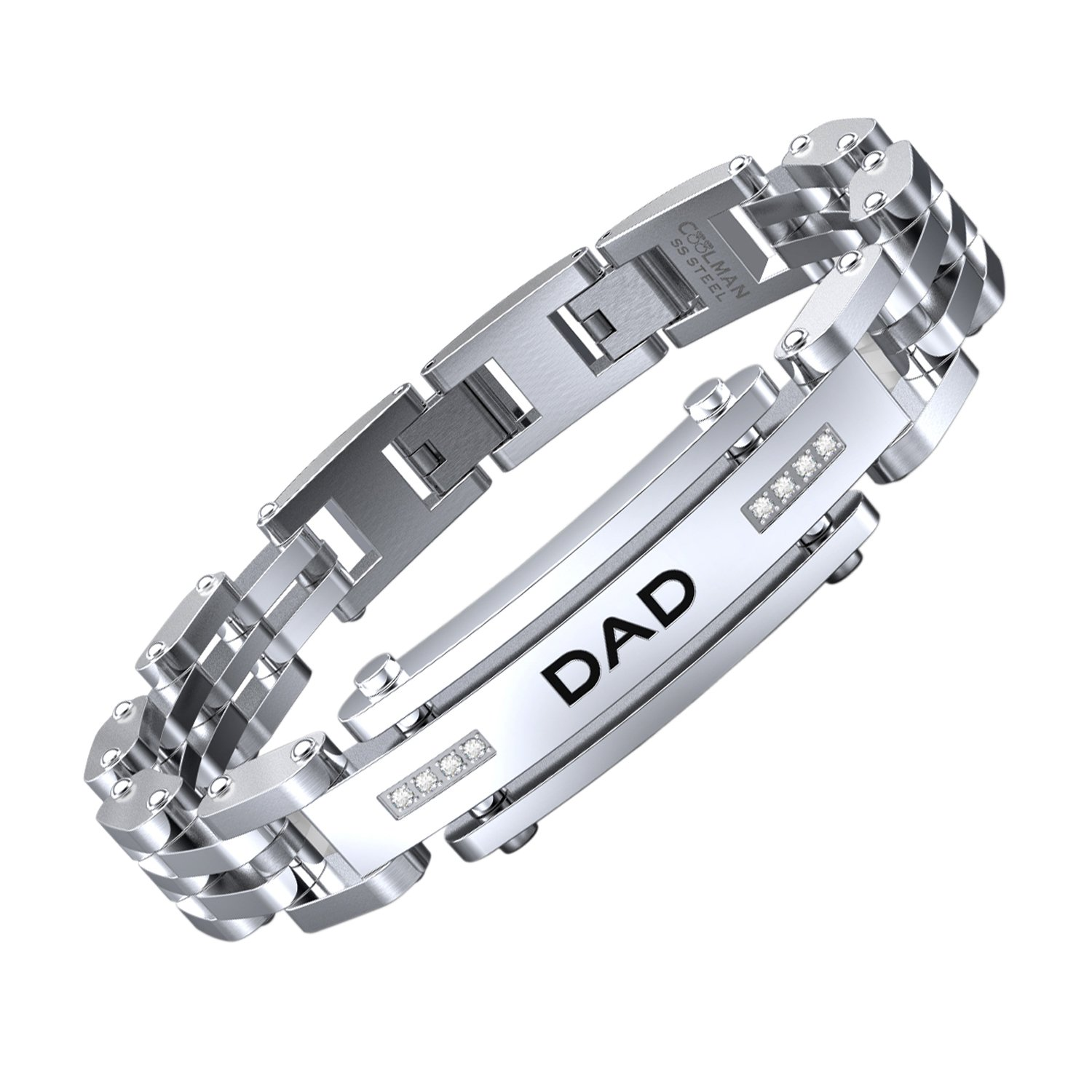 7686be90b6 Amazon.com: COOLMAN Men Bracelet Stainless Steel with Adjustable Clasp  Engraved Wristband for DAD Father: Jewelry