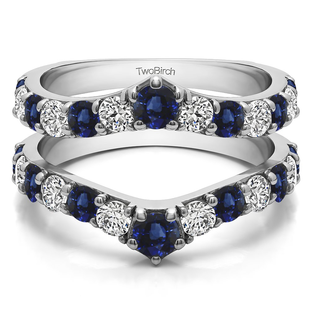 TwoBirch 0.35 ct. Diamonds (G-H,I2-I3) and Sapphire Genuine Sapphire Ring Guard Enhancer in Sterling Silver (1/3 ct. twt.) (Size 3 to 15 in 1/4 Size Intervals)