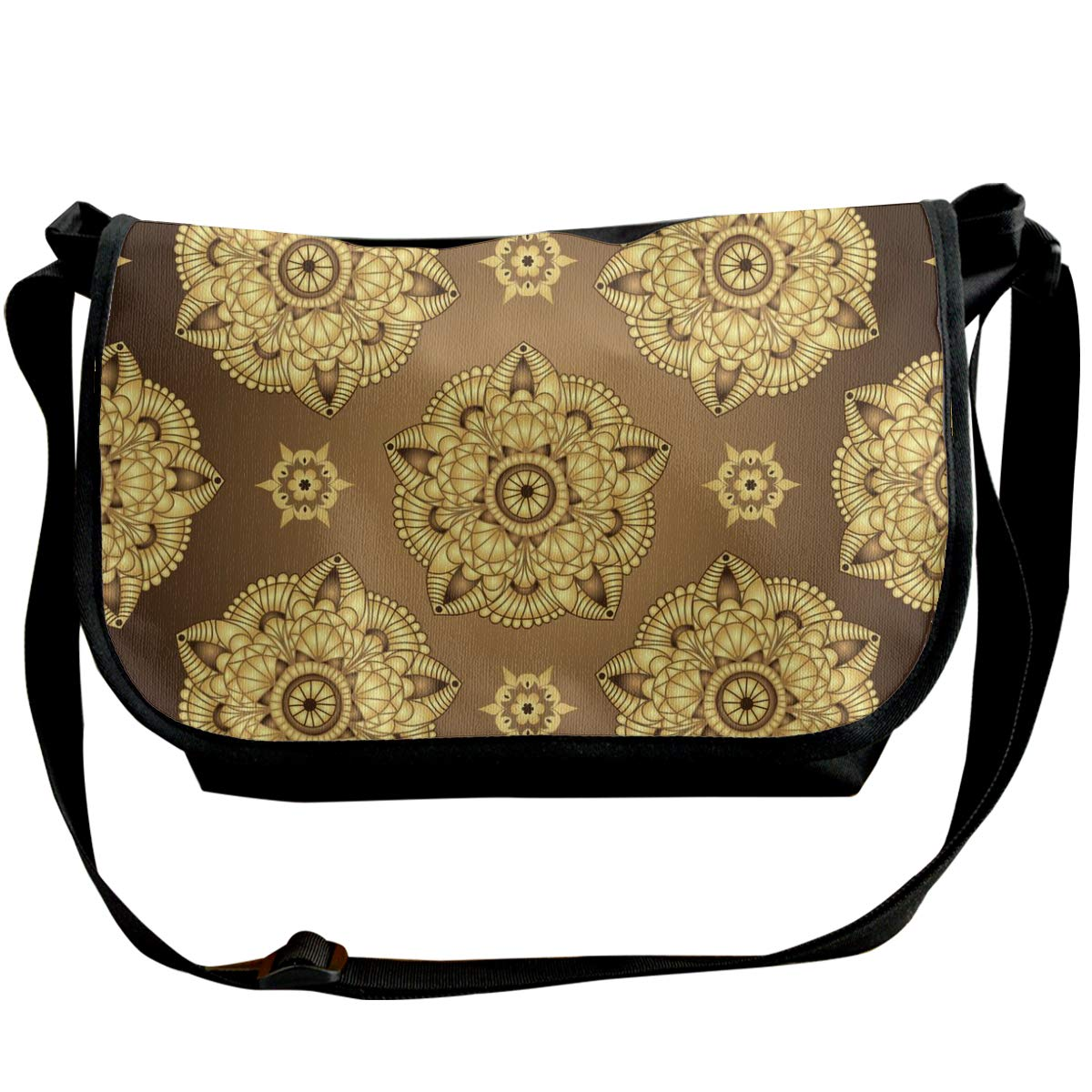 Taslilye Vintage Brown Seamless Pattern Vector Image Customized Wide Crossbody Shoulder Bag For Men And Women For Daily Work Or Travel