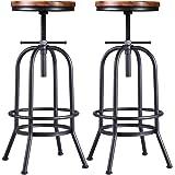 32 inch Vintage Industrial Bar Stool-Metal Wood Swivel Bar Stool-Retro Bar Height Stool-Counter Height Adjustable Kitchen Sto