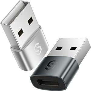 Syncwire USB C Female to USB Male Adapter 2 Pack,Type C to A Converter Adapter Compatible with iPhone 12 11 Pro Max,iPad,Laptops,Samsung Galaxy Note 10 S20 Plus 20 FE Ultra,Google Pixel 5 4 4a 3 2 XL