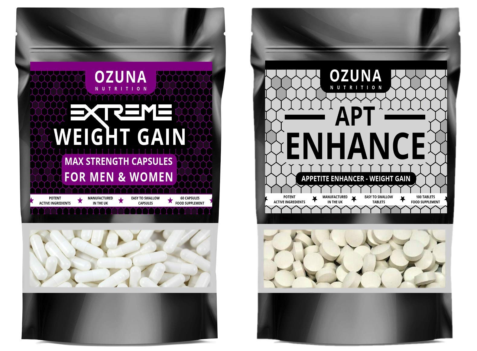 Extreme Weight Gain Anabolic & APT Appetite Enhancer Stimulant Bundle Strongest Available, Quick Weight & Muscle Growth Pills, Made in The UK