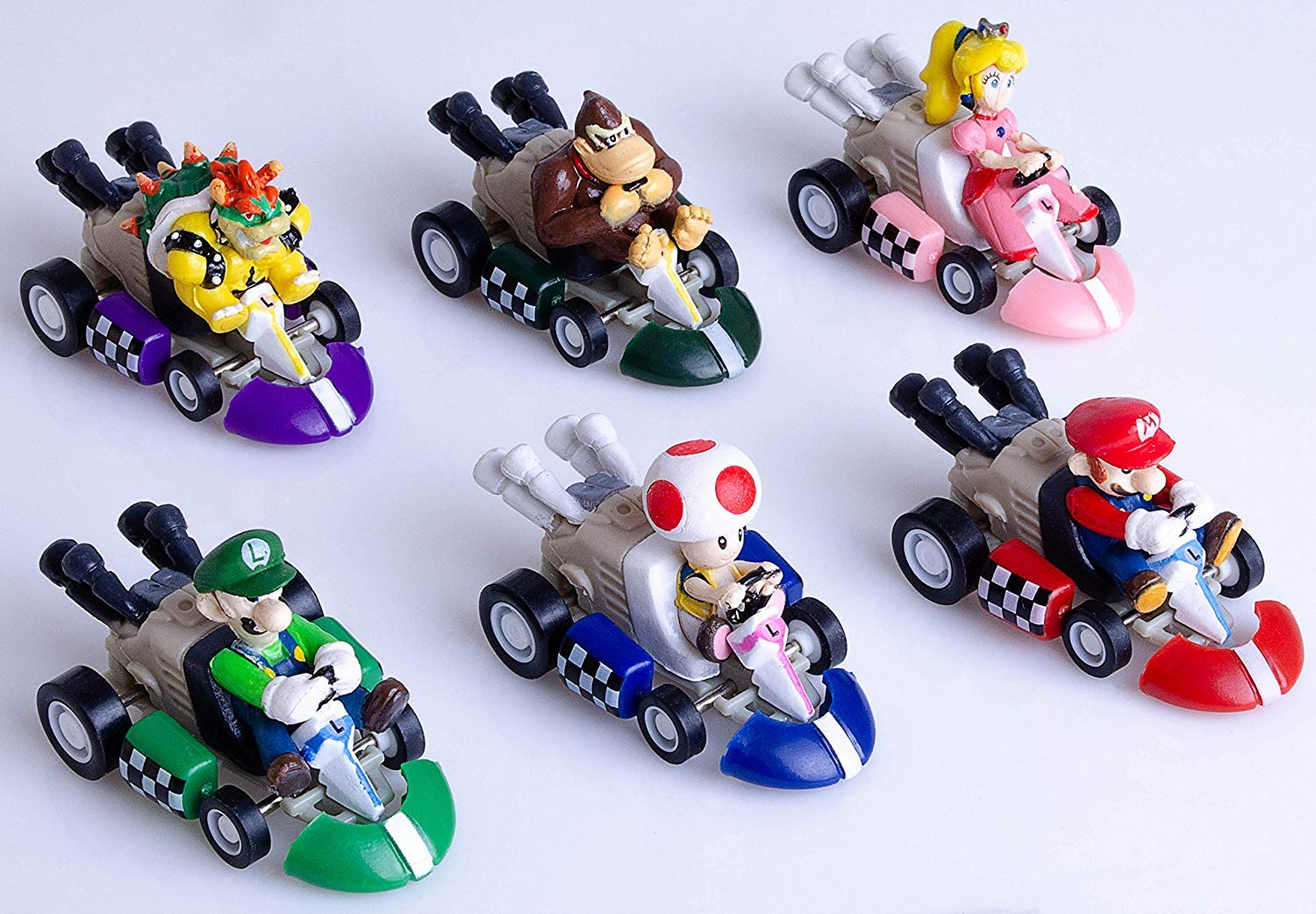 6 Pcs Mario Kart Pull Back Cars Cake Topper Figures Toy Set -Kids Birthday Party Cake Decoration Supplies by IAMPOK