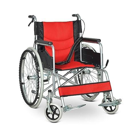 QIDI Silla De Ruedas Plegable Trolley Personas Discapacitadas Freno De Mano Portátil Viejo Scooter (Color