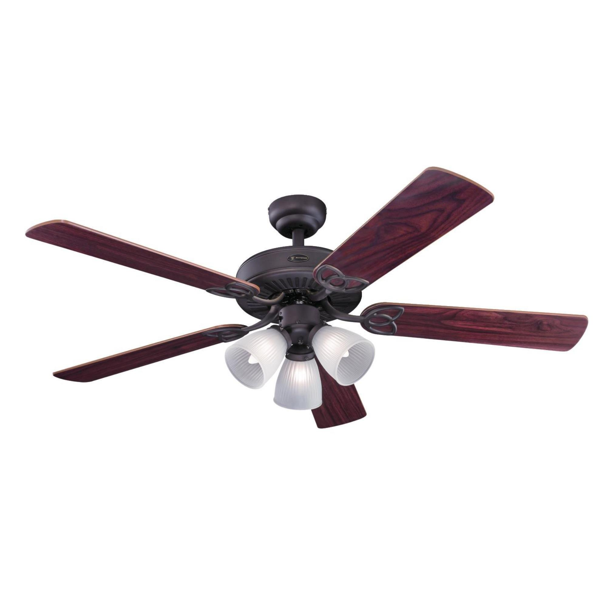 Westinghouse 7207900 Traditional Vintage 52 inch Oil Rubbed Bronze Indoor Ceiling Fan, Light Kit with Frosted Ribbed Glass