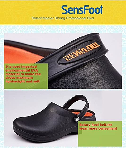 c952eea085 Kitchen Shoes Non Slip Safety Shoes Working for Chef Slip Resistant Clog   Amazon.co.uk  Shoes   Bags