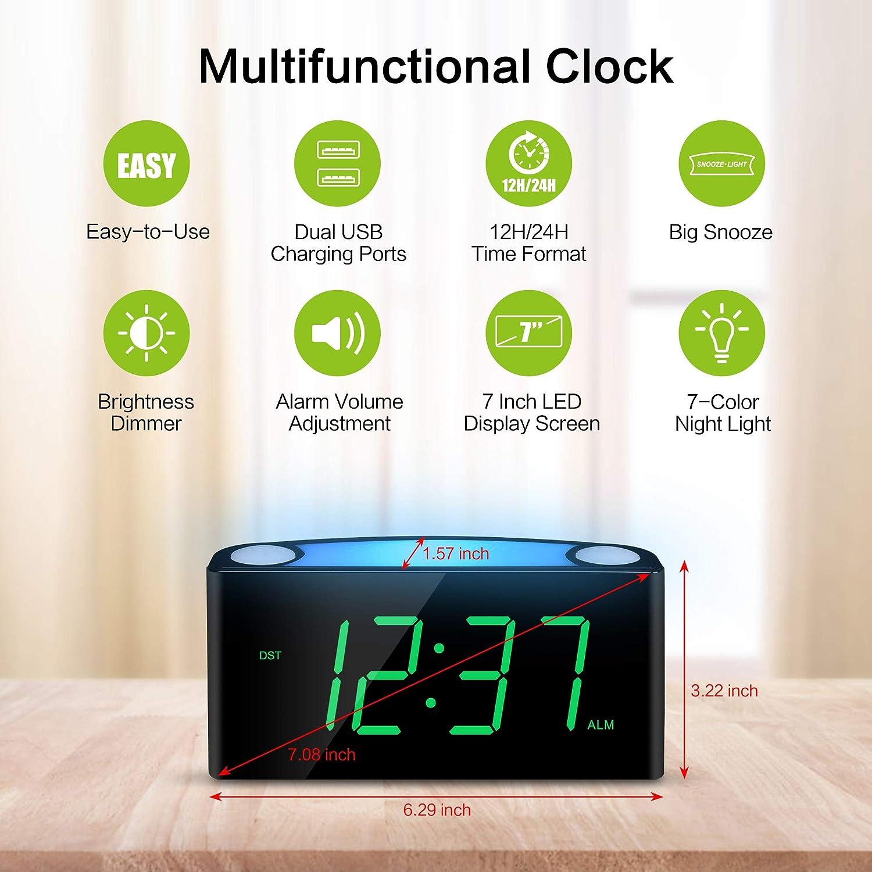 Amazon.com: Reloj despertador, pantalla digital LED grande ...