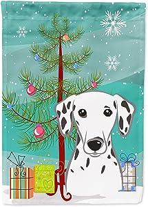 Caroline's Treasures BB1582GF Christmas Tree and Dalmatian Garden Flag, Small, Multicolor
