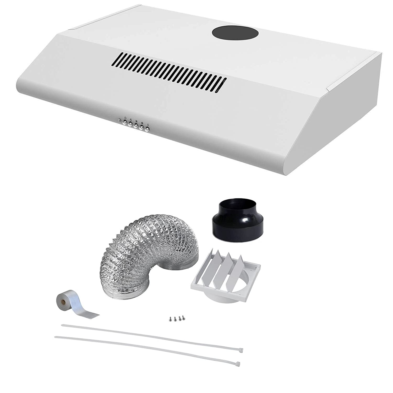 Cookology STAND600WH 60cm White Visor Cooker Hood Extractor Fan & Duct STAND600WH DK1M120
