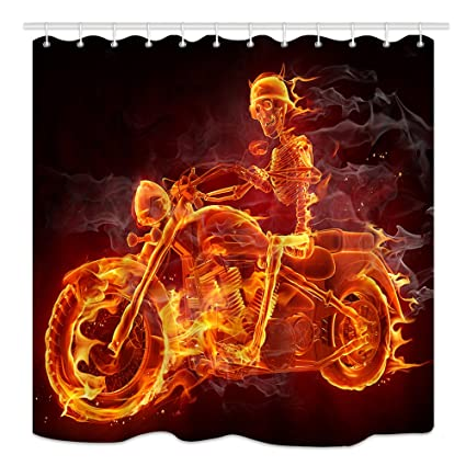 DYNH Fire Skeleton Riding Motorcycle Shower Curtain Halloween Festival Mildew Resistant Waterproof Polyester Fabric